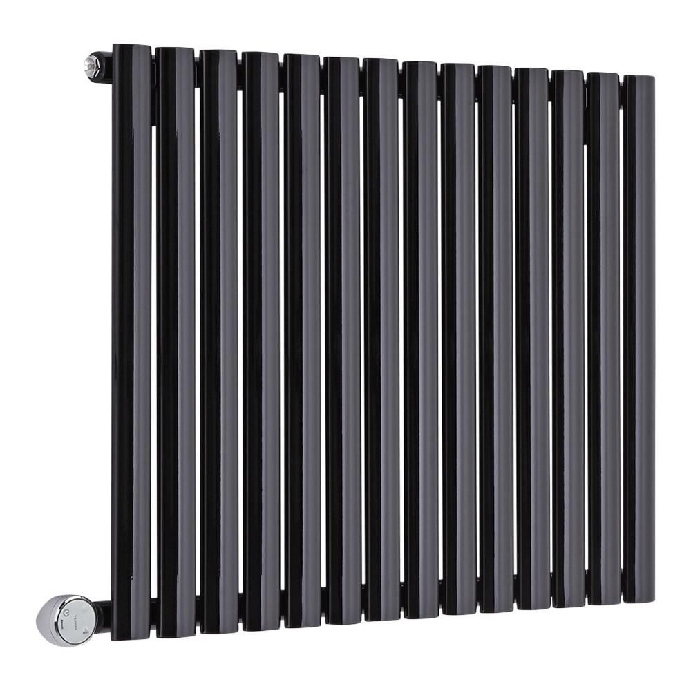 radiateur design lectrique horizontal noir vitality 63 5cm x x 5 6cm. Black Bedroom Furniture Sets. Home Design Ideas
