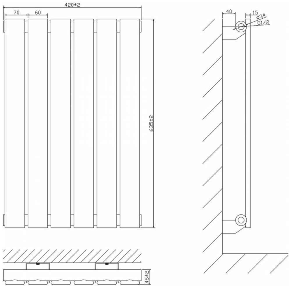 radiateur design lectrique horizontal noir delta 63 5cm x 42cm x 4 6cm. Black Bedroom Furniture Sets. Home Design Ideas