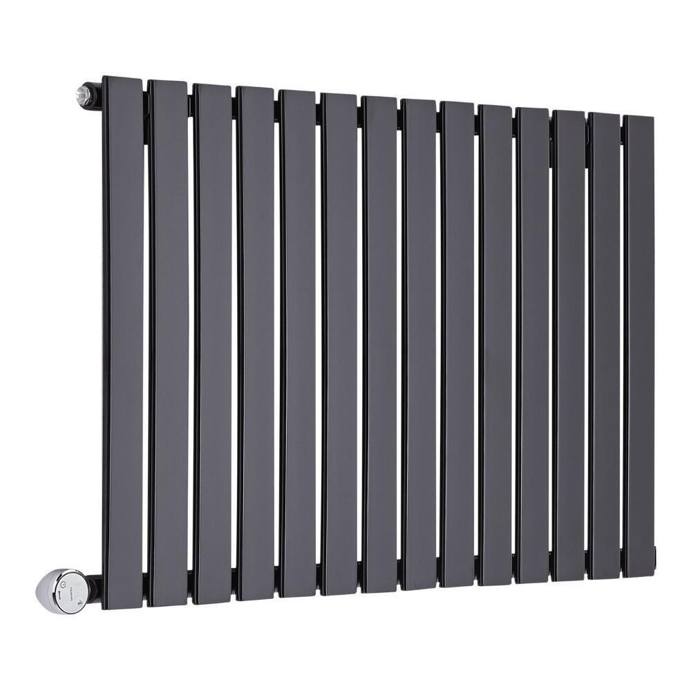 radiateur design lectrique horizontal noir delta 63 5cm x 98cm x 4 6cm. Black Bedroom Furniture Sets. Home Design Ideas