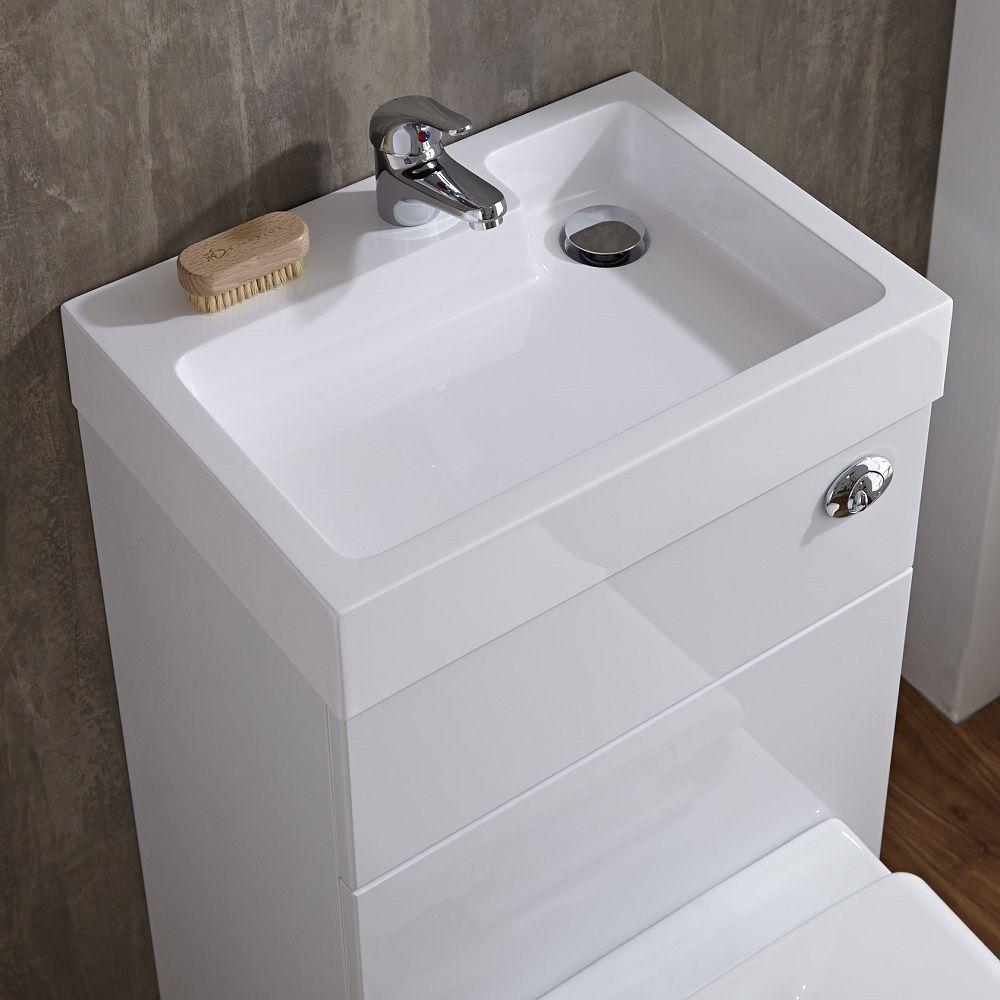 Wc Avec Lave Main Blanc Géométrique