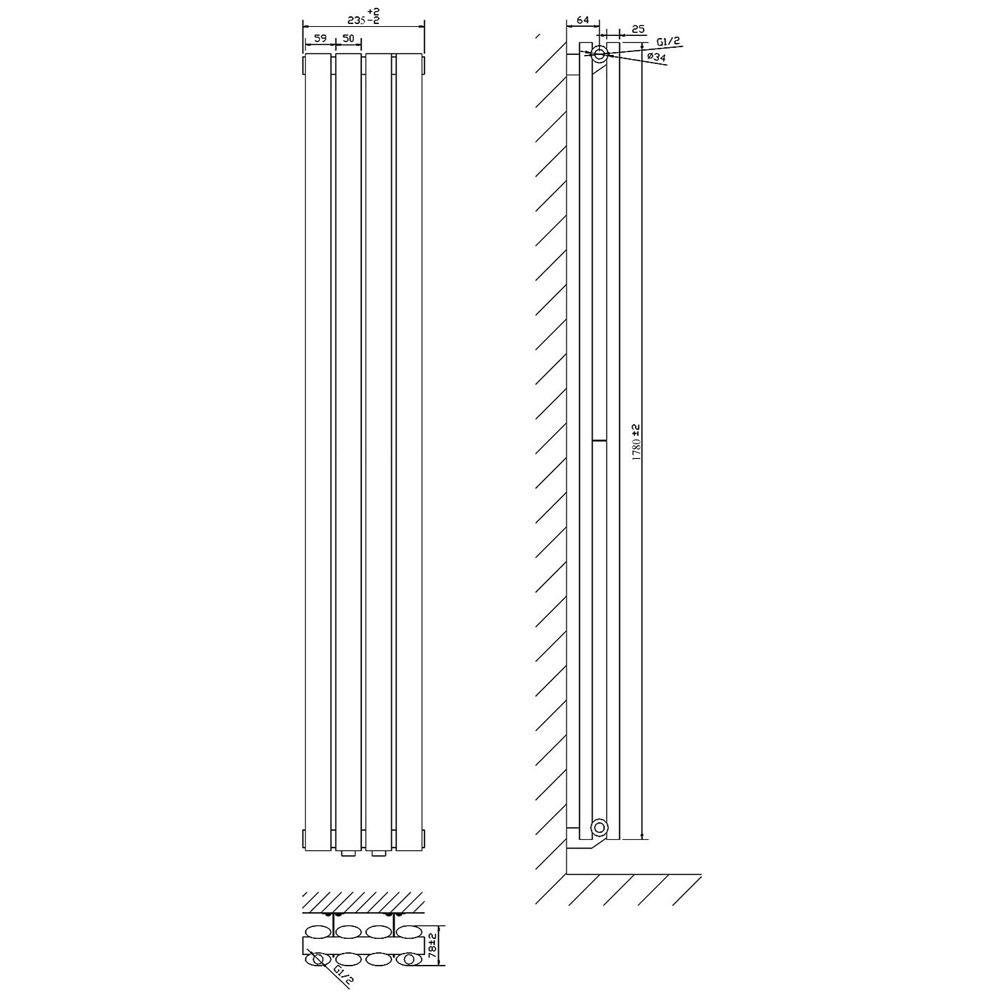 radiateur design lectrique vertical noir vitality 178cm x 23 6cm x 7 8cm. Black Bedroom Furniture Sets. Home Design Ideas