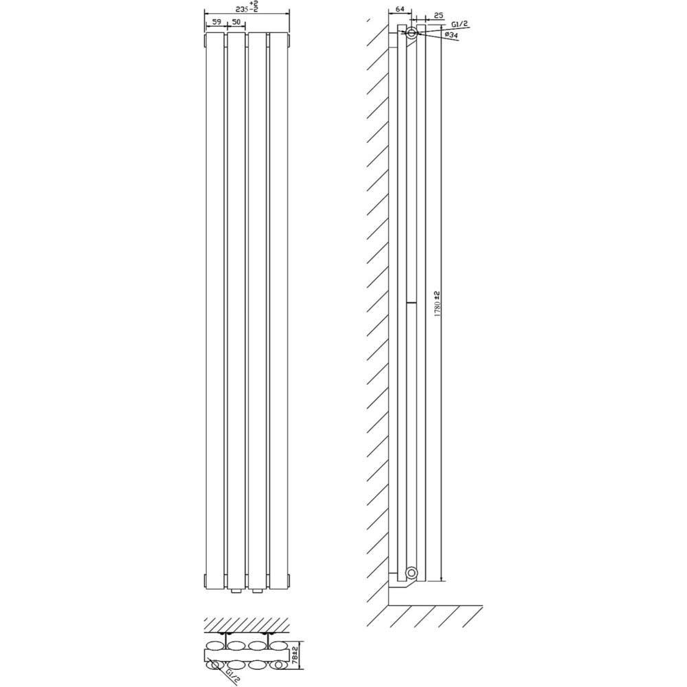 radiateur design lectrique vertical blanc vitality 178cm x 23 6cm x 7 8cm. Black Bedroom Furniture Sets. Home Design Ideas