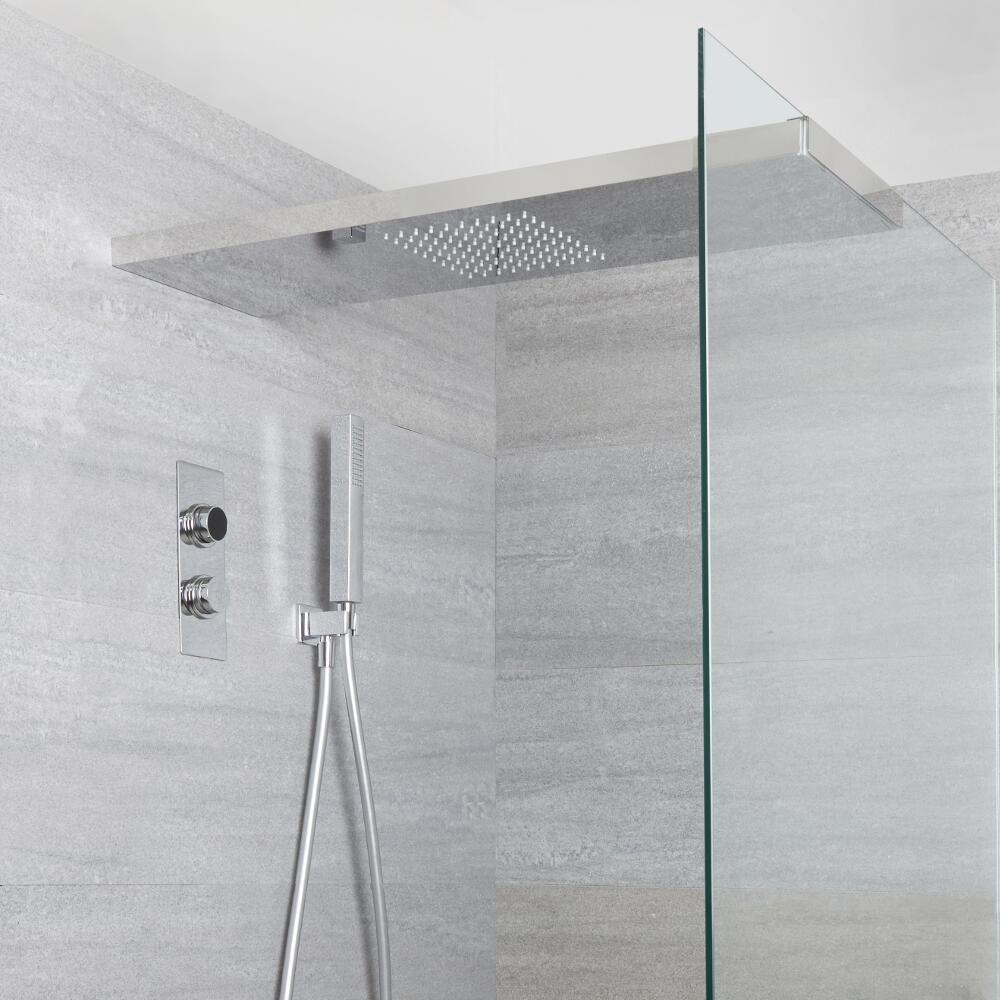 douche digitale thermostatique 2 fonctions pommeau douche italienne 25x80cm douchette narus. Black Bedroom Furniture Sets. Home Design Ideas