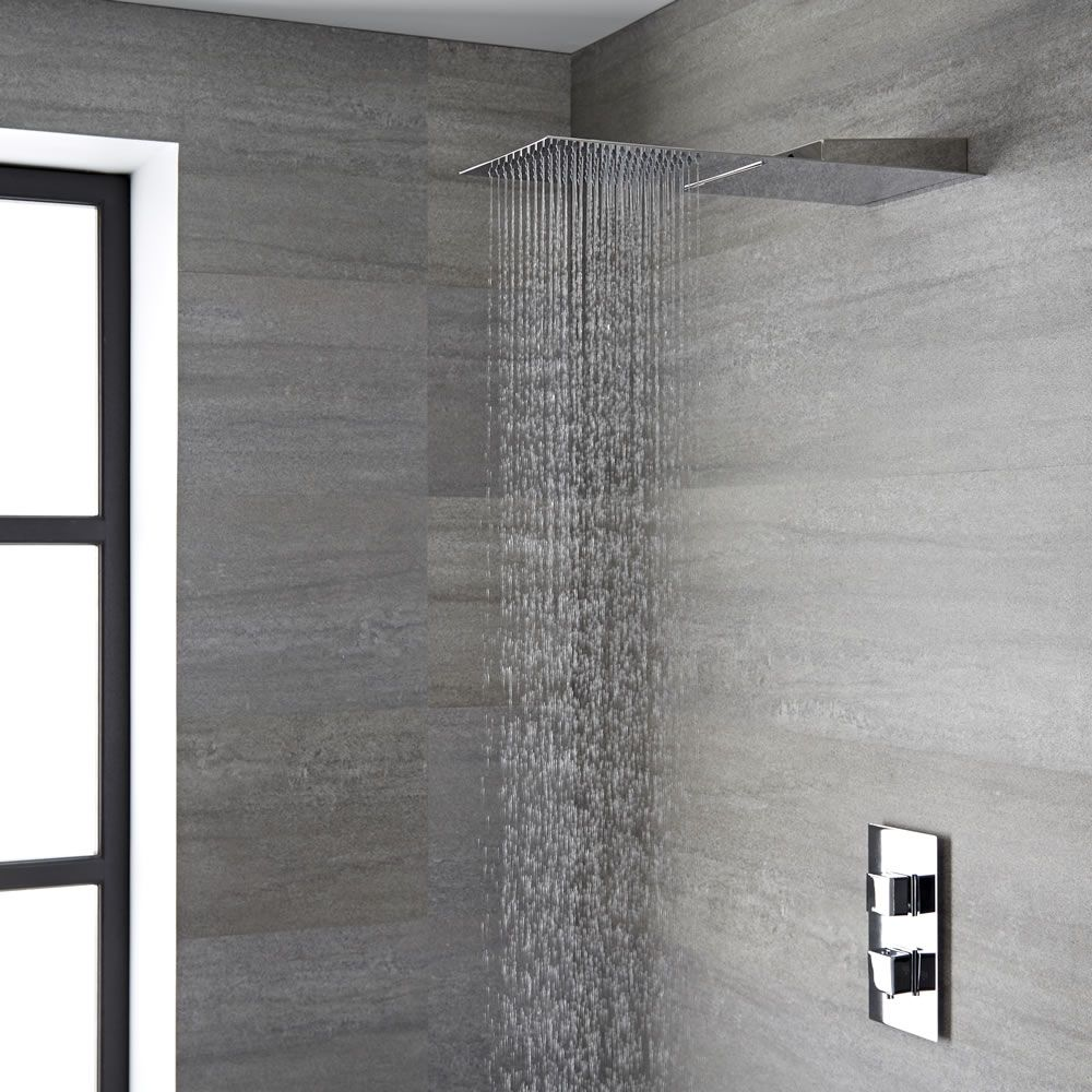 pommeau de douche cascade pluie rectangulaire 20 x 50cm. Black Bedroom Furniture Sets. Home Design Ideas