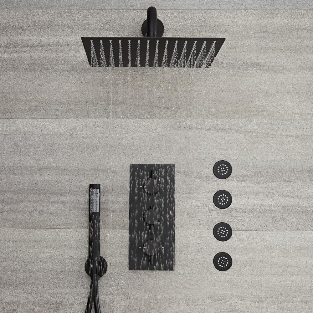 kit de douche encastrable noir mitigeur thermostatique pommeau 30x30cm 4 buses