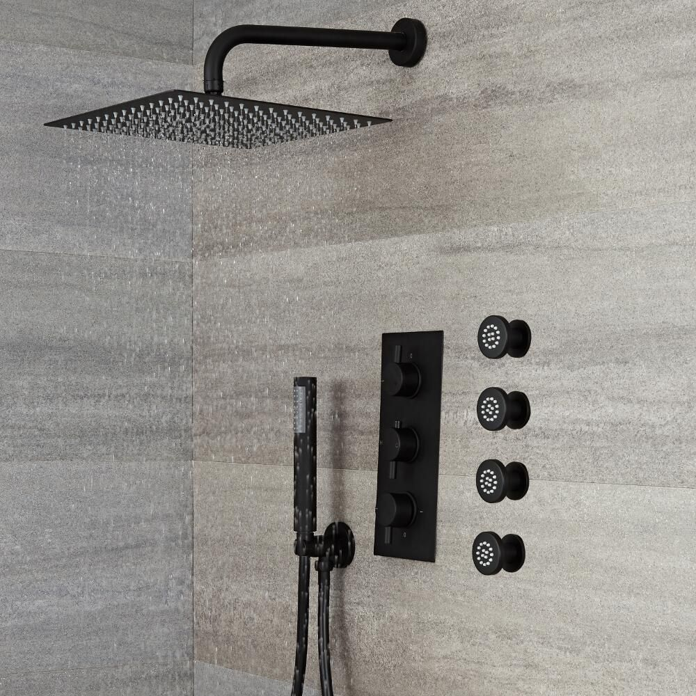 kit de douche encastrable noir mitigeur thermostatique. Black Bedroom Furniture Sets. Home Design Ideas