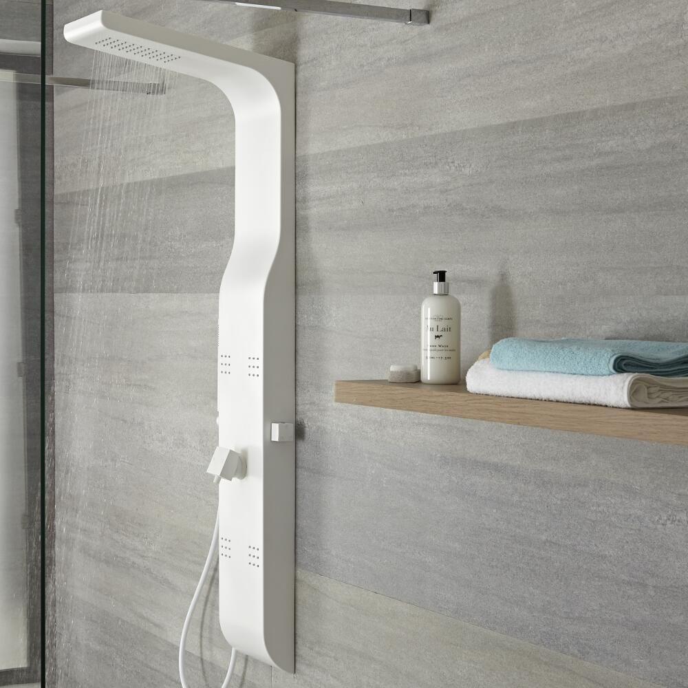 colonne de douche mitigeur m canique alston blanche. Black Bedroom Furniture Sets. Home Design Ideas