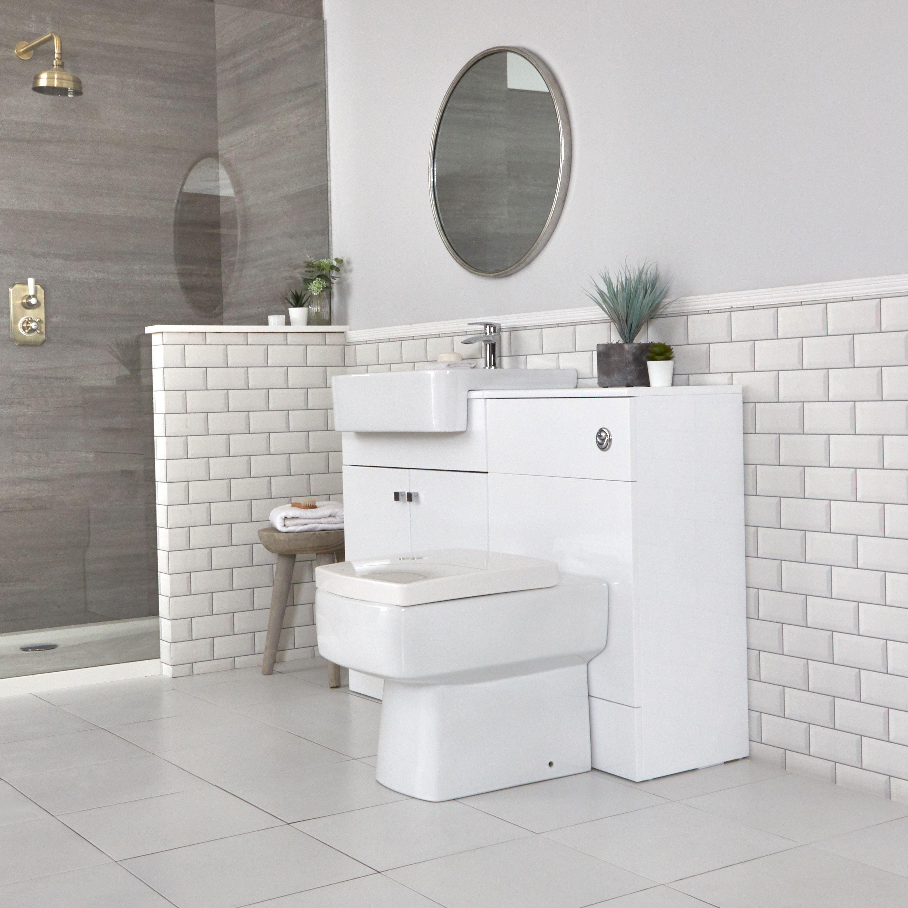 Toilette Blanc Et Gris meuble-lavabo et pack wc – blanc – 117 cm - atticus