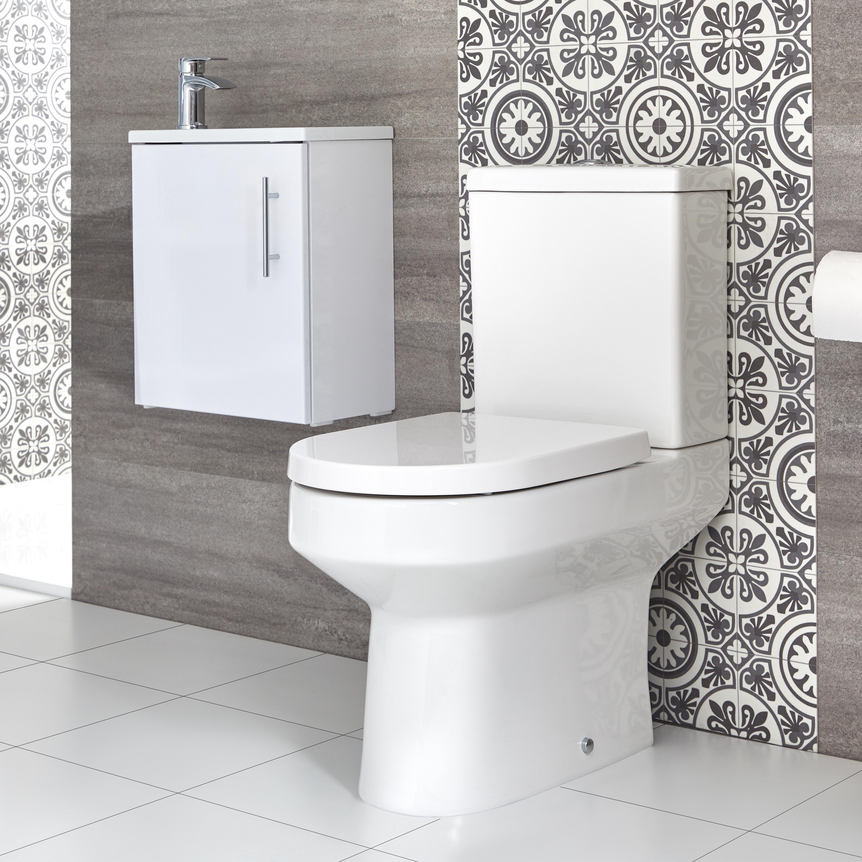 Vasque Sur Pied Avec Meuble ensemble meuble lave-mains suspendu avec plan vasque et pack wc – 40 cm –  choix de finition - covelly