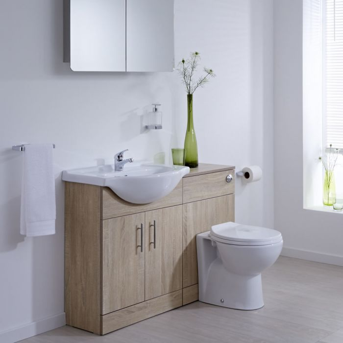 meuble lavabo toilette wc 51x78x30cm classic oak. Black Bedroom Furniture Sets. Home Design Ideas
