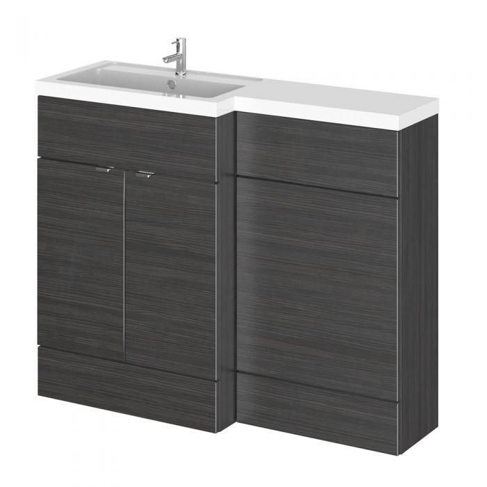 Meuble-lavabo noir wengé 110 x 86.4 x 35.5cm Version gauche