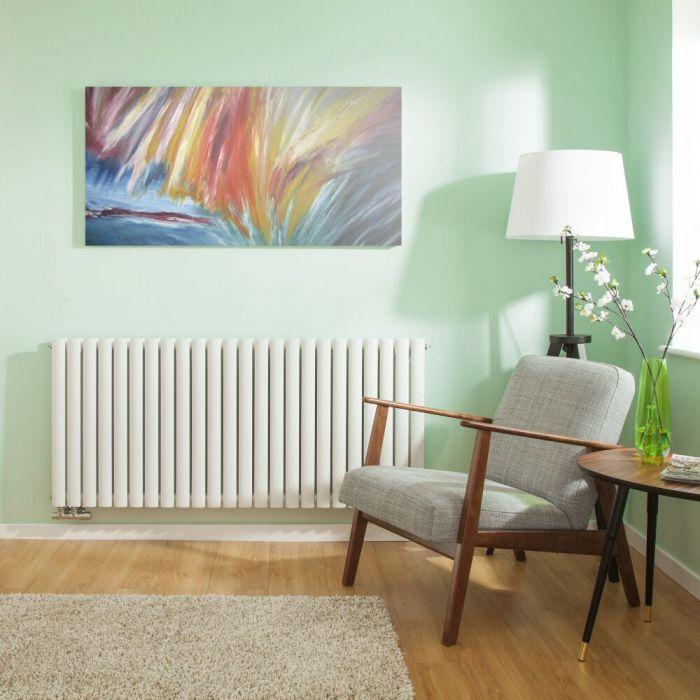 Radiateur Design Horizontal Raccordement Central Blanc Vitality Caldae 63,5cm x 141,1cm x 7,8cm 2503 Watts