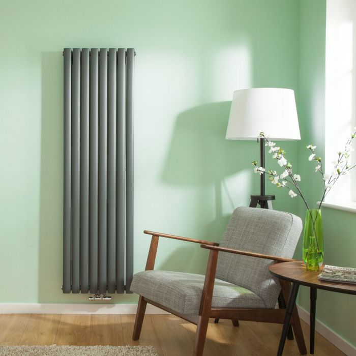 Radiateur Design Vertical Raccordement Central Anthracite Vitality Caldae 160cm x 47,2cm x 7,8cm 1718 Watts