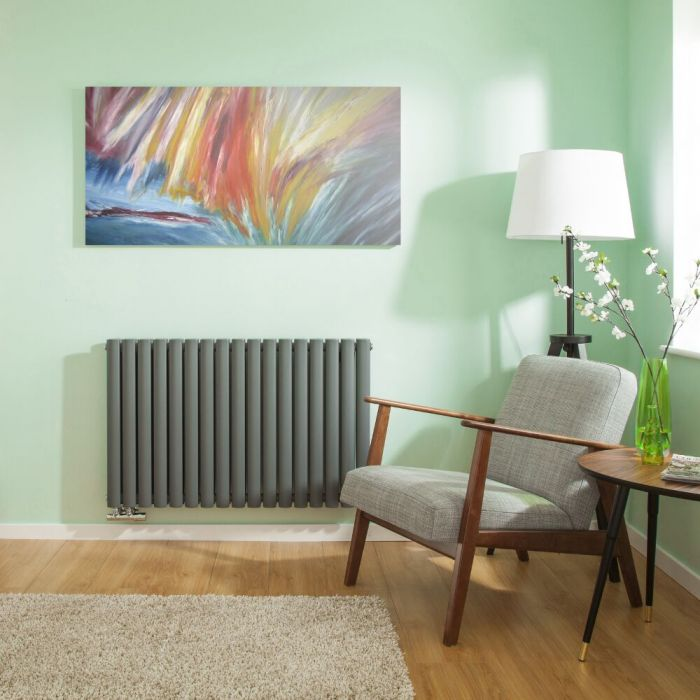 Radiateur Design Horizontal Raccordement Central Anthracite Vitality Caldae 63,5cm x 100cm x 7,8cm 1773 Watts