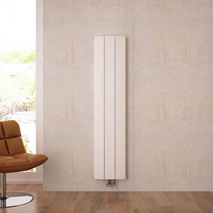 Radiateur Design Vertical Raccordement Central Aluminium Blanc Aurora 160cm x 28cm x 4,5cm 1021 Watts