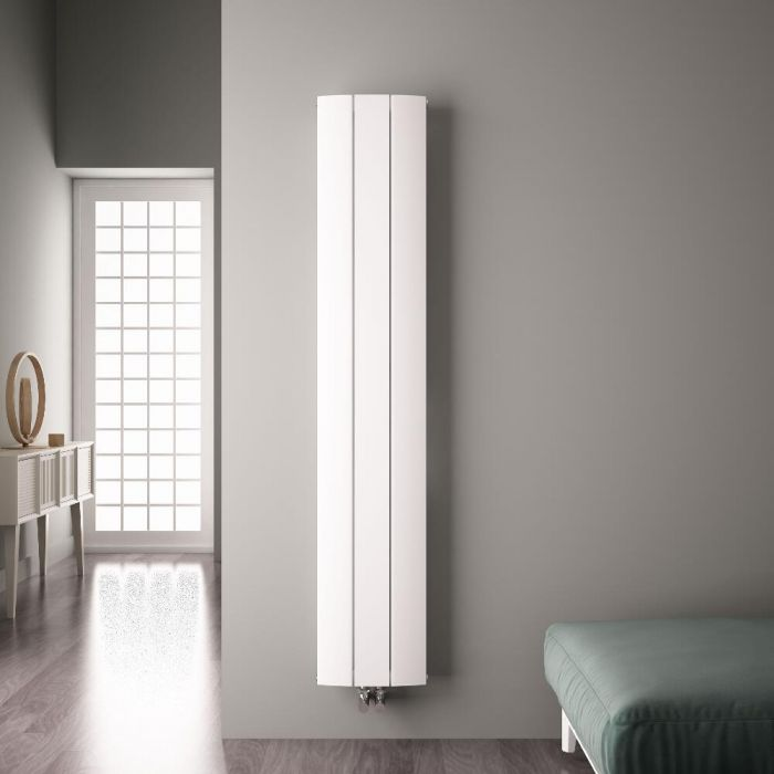 Radiateur Design Vertical Raccordement Central Aluminium Blanc Aurora 180cm x 28cm x 4,5cm 1152 Watts