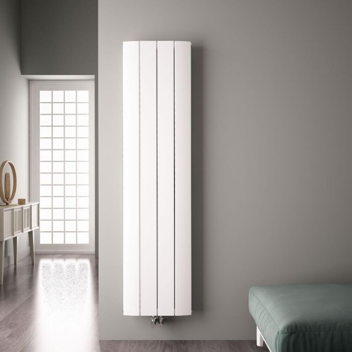 Radiateur Design Vertical Raccordement Central Aluminium Blanc Aurora 180cm x 37,5cm x 4,5cm 1535 Watts
