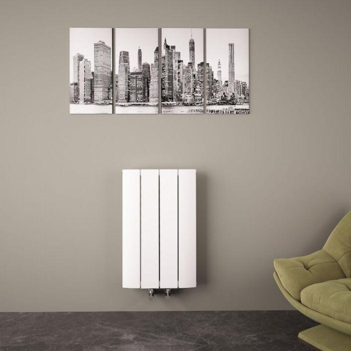 Radiateur Design Horizontal Raccordement Central Aluminium Blanc Aurora 60cm x 37,5cm x 4,6cm 512 Watts
