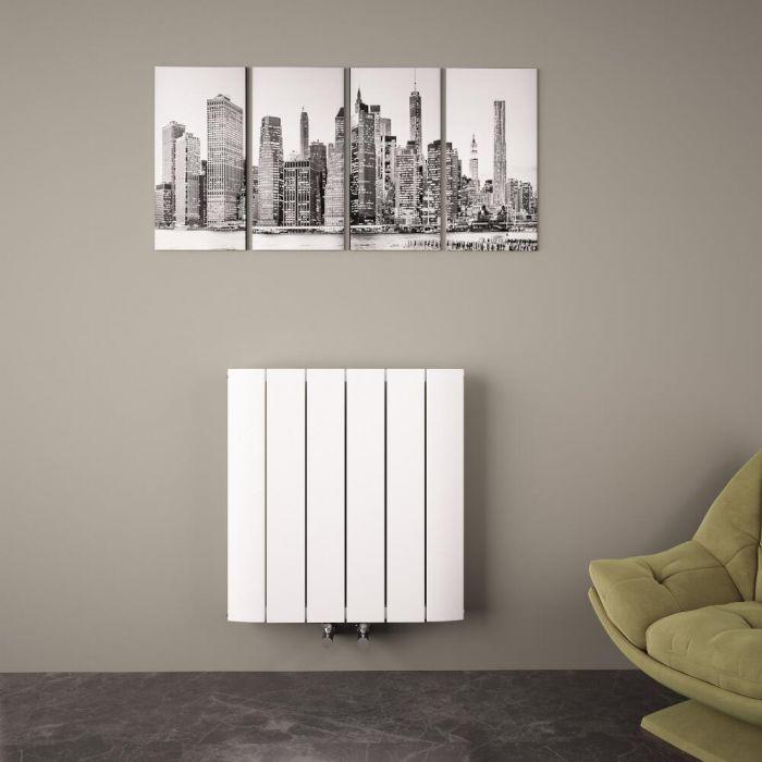 Radiateur Design Horizontal Raccordement Central Aluminium Blanc Aurora 60cm x 56,5cm x 4,5cm 768 Watts