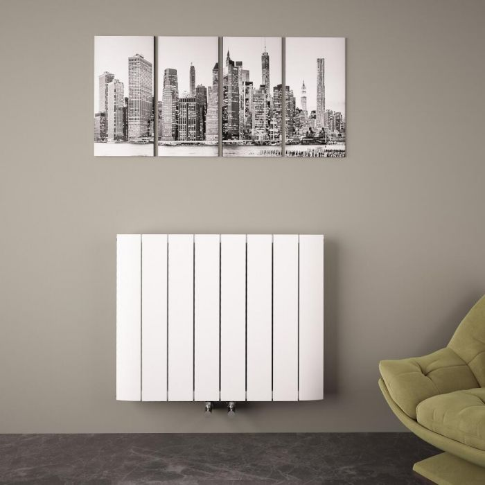 Radiateur Design Horizontal Raccordement Central Aluminium Blanc Aurora 60cm x 75,5cm x 4,5cm 1024 Watts