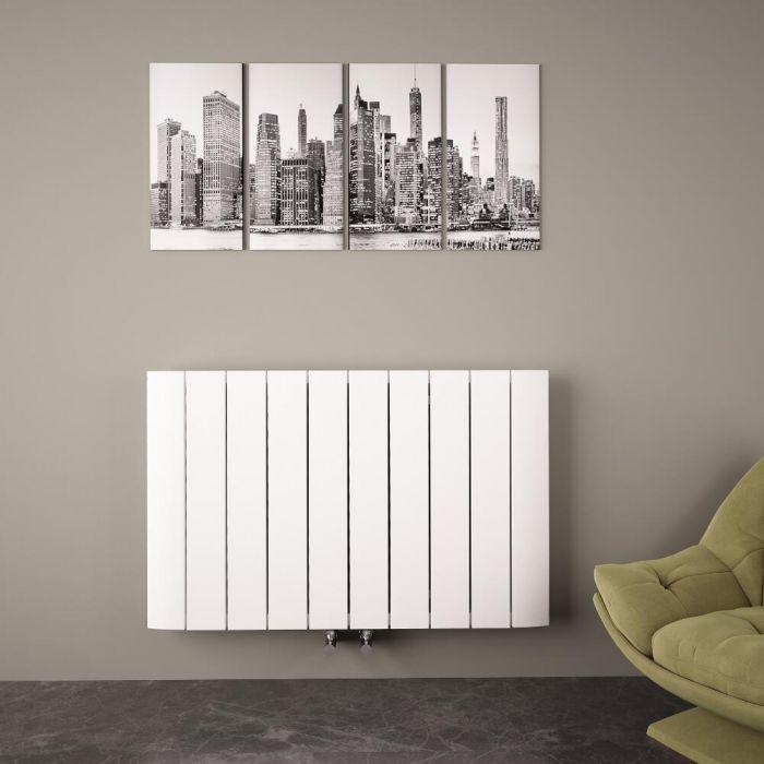 Radiateur Design Horizontal Raccordement Central Aluminium Blanc Aurora 60cm x 94,5cm x 4,6cm 1279 Watts