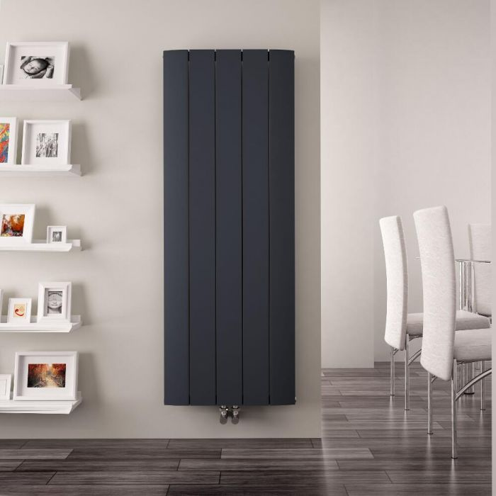Radiateur Design Vertical Raccordement Central Aluminium Anthracite Aurora 160cm x 47cm x 4,5cm 1701 Watts