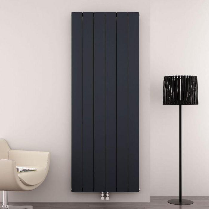 Radiateur Design Vertical Raccordement Central Aluminium Anthracite Aurora 180cm x 56,5cm x 4,6cm 2303 Watts