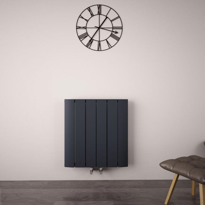 Radiateur Design Horizontal Raccordement Central Aluminium Anthracite Aurora 60cm x 56,5cm x 4,5cm 768 Watts