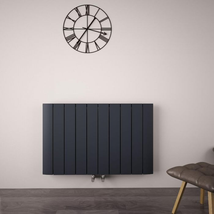 Radiateur Design Horizontal Raccordement Central Aluminium Anthracite Aurora 60cm x 94,5cm x 4,5cm 1279 Watts