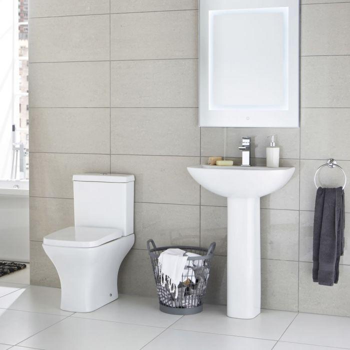 Lavabo sur colonne 55cm & WC Moderne