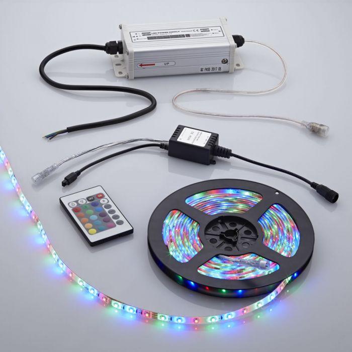 Biard Kit bande lumineuse 5 mètres 300 LED RGB 3528 étanche avec alimentation électrique et télécommande de contrôle