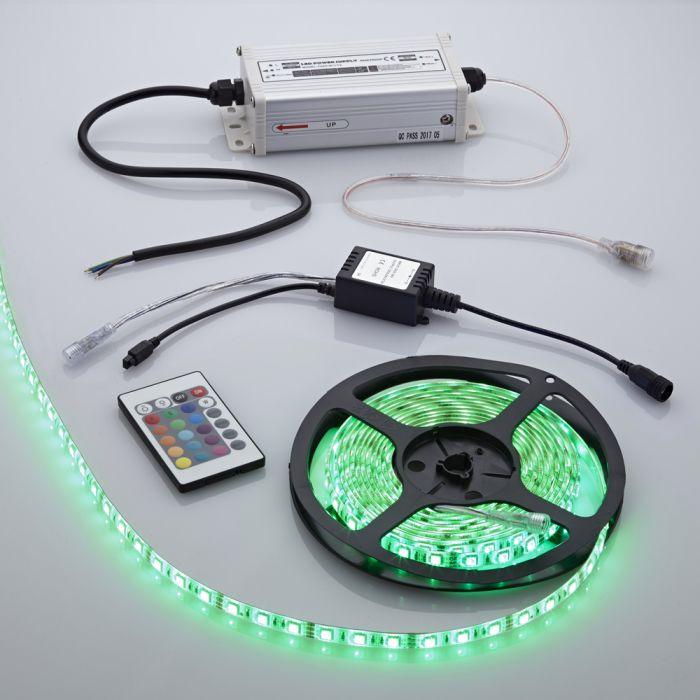 Biard Bande lumineuse 5 mètres étanche 300 LED RGB 5050 avec alimentation électrique et contrôleur