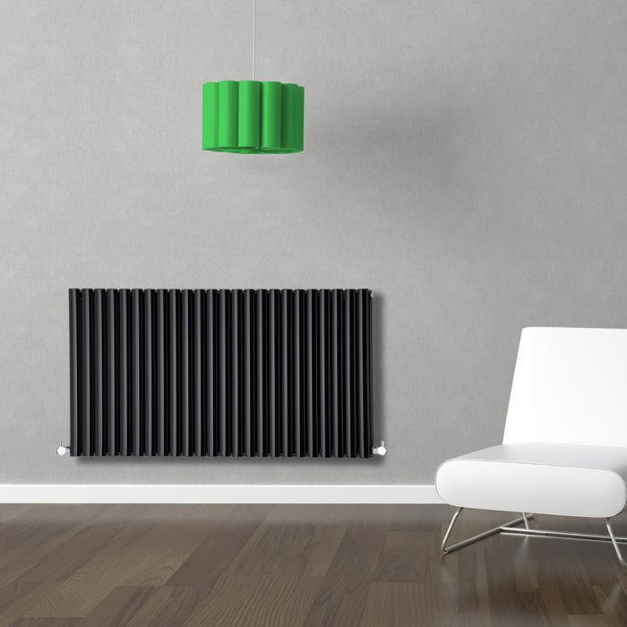 Radiateur Design Horizontal Noir Vitality 63,5cm x 141,1cm x 7,8cm 2236 Watts