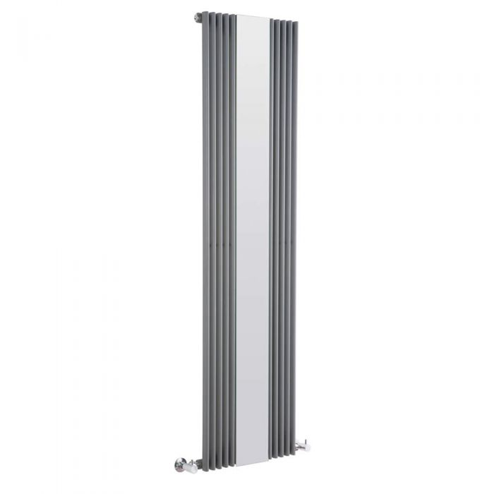 Radiateur Design Vertical avec Miroir Anthracite Keida 160cm x 42cm x 6,2cm 840 Watts