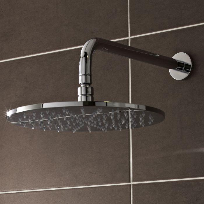 Pomme de douche ronde 30cm à LED avec bras de fixation