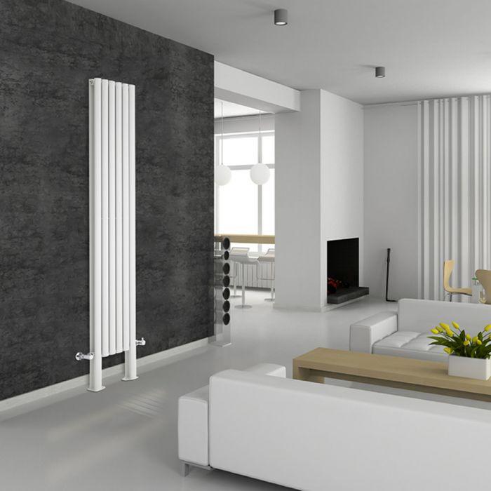 Radiateur Design Vertical avec Pieds de Support Blanc Vitality Plus 200cm x 35,4cm x 7,8cm 1401 Watts