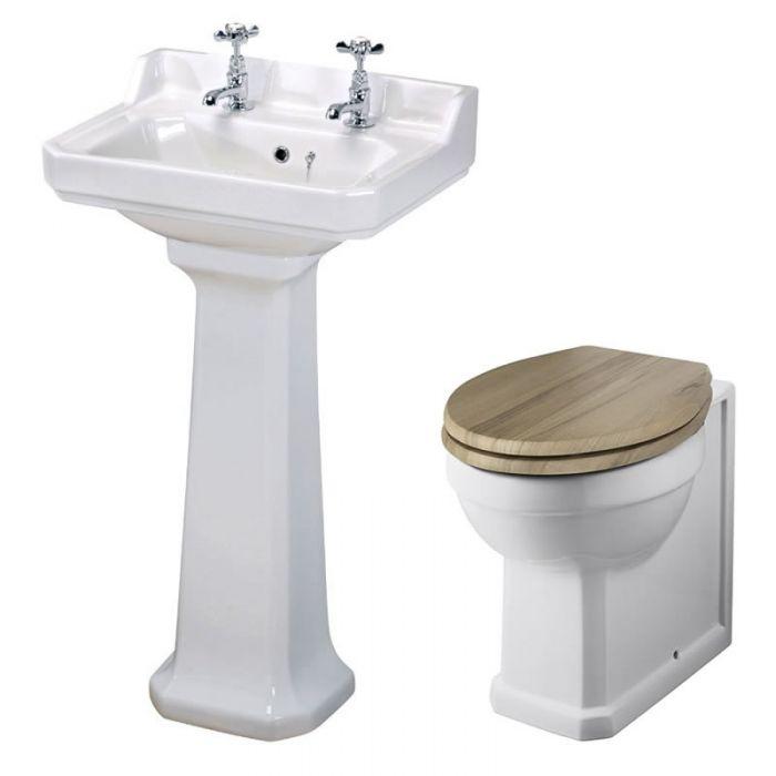 Lavabo 50cm & Cuvette WC Rétro - Choix d'abattant