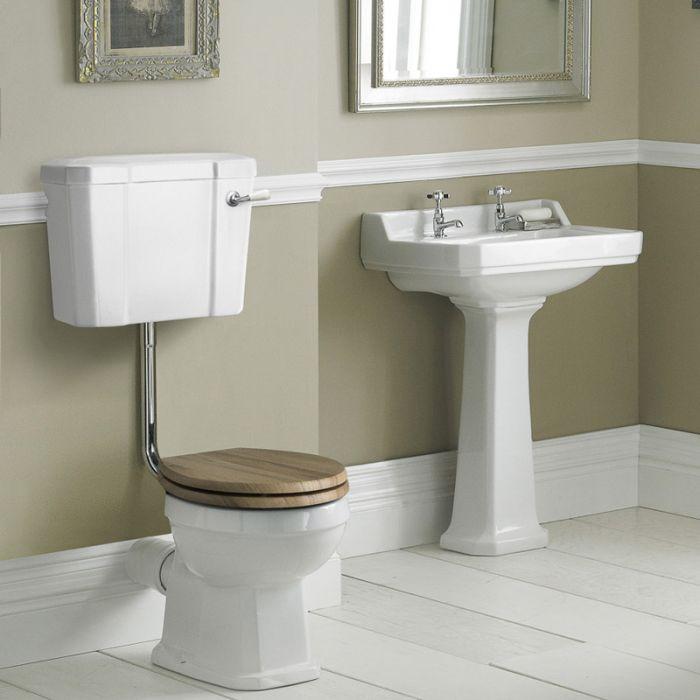 Lavabo sur colonne Rétro Carlton 59cm & WC Chasse demie haute & Choix d'abattant