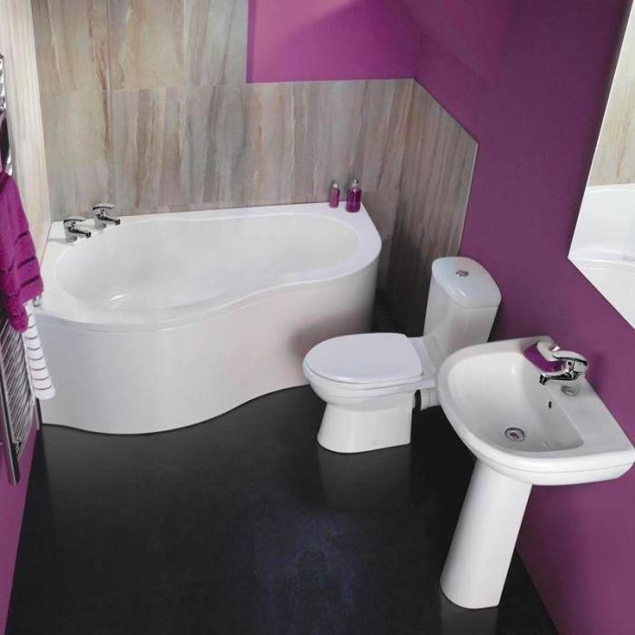 Ensemble baignoire d'angle 150x100cm lavabo et toilette WC moderne Ivo