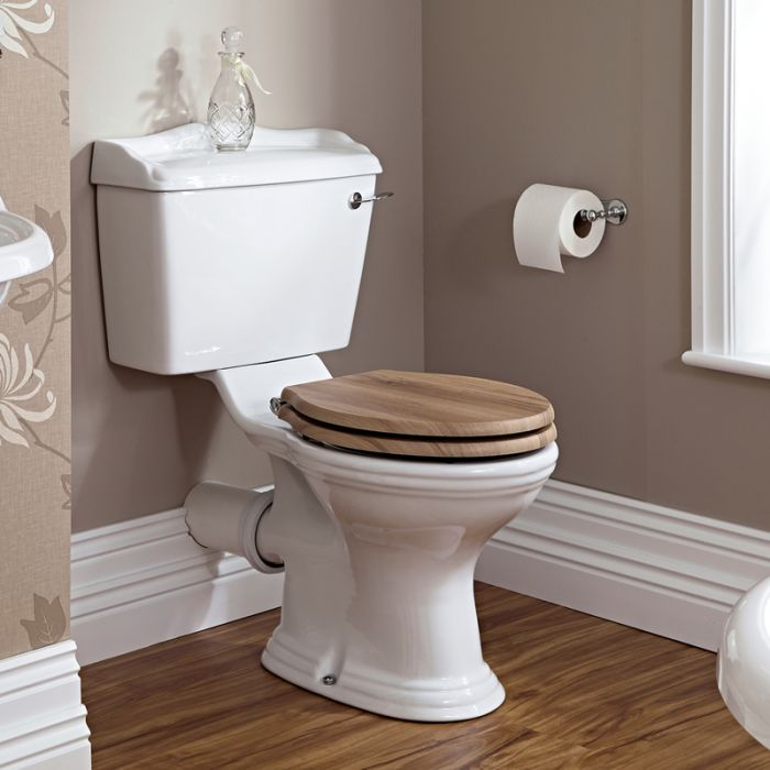 Toilette WC rétro & abattant noyer Ryther