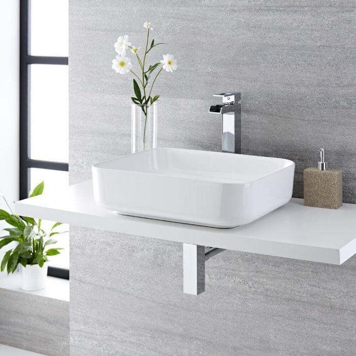 Vasque à poser rectangulaire Milton 50 x 40cm & Mitigeur Haut