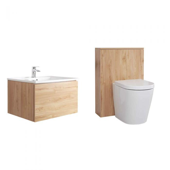 Meuble Lavabo Newington 60cm & Pack WC Chêne Doré