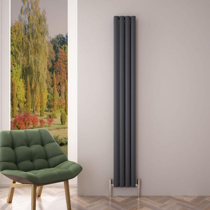 Radiateur Aluminium Design Anthracite 180 x 23cm 1002 watts Vitality Air