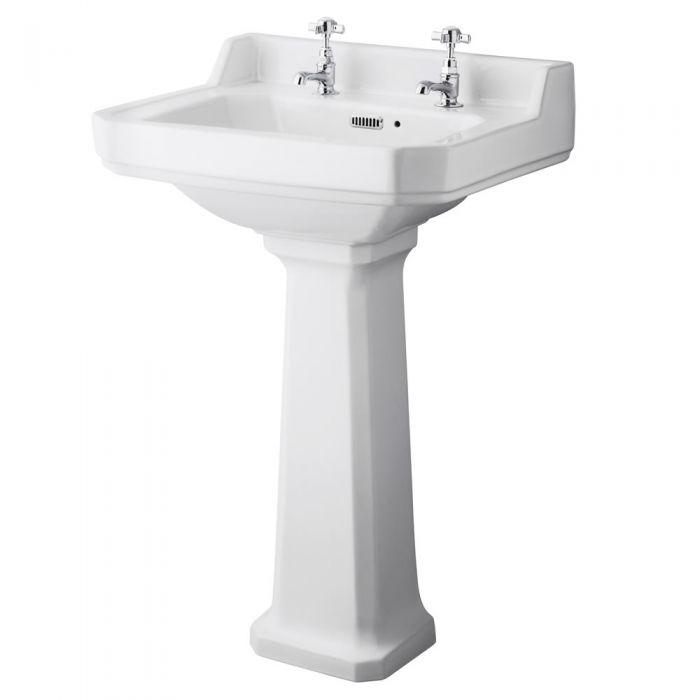 Lavabo 56cm & Cuvette WC Rétro - Choix d'abattant