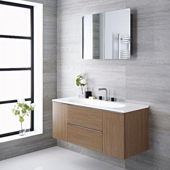 Meuble vasque salle de bain 120x48x52cm Randwick Chêne