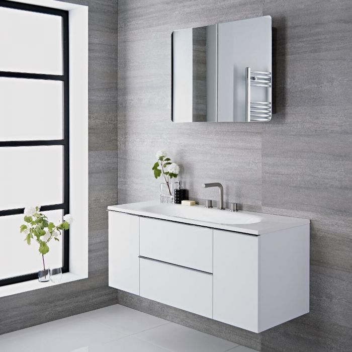 Meuble vasque salle de bain 120x48x52cm Randwick Blanc laqué