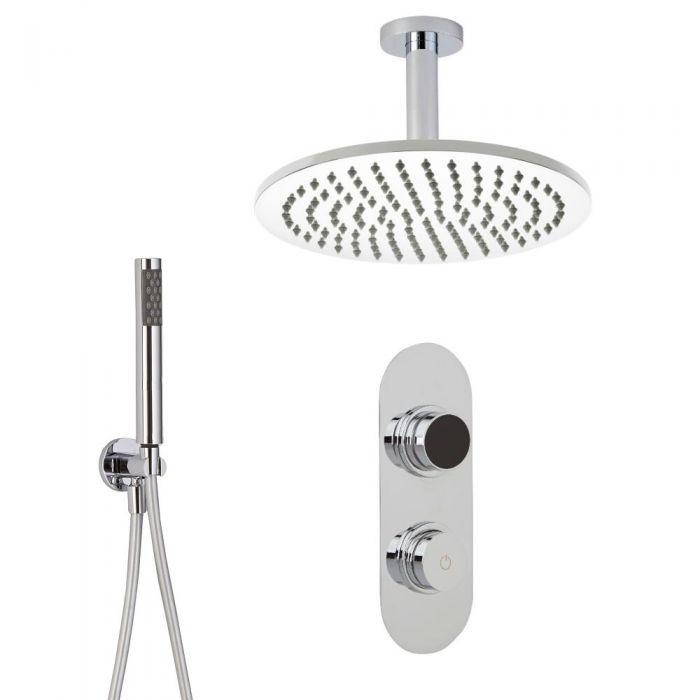 Douche Digitale Thermostatique 2 Fonctions - Pommeau Ø 30cm Plafond & Douchette