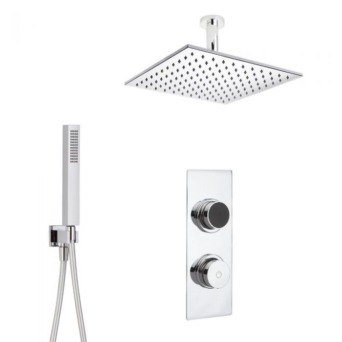 Douche Digitale Thermostatique 2 Fonctions - Pommeau Plafond 30x30cm & Douchette