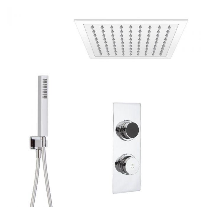 Douche Digitale Thermostatique 2 Fonctions - Pommeau Plafonnier 28x28cm & Douchette