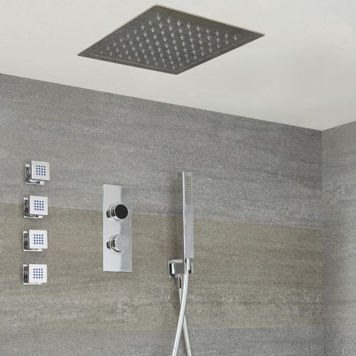 Douche Digitale Thermostatique 3 fonctions - Pommeau Plafonnier 28x28cm Douchette & 4 jets Hydromassants - Narus